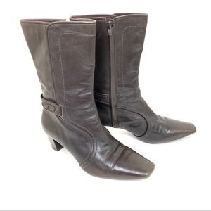 Cole Haan Brown Leather Mid Calf Square Toe Boots